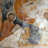 Chiesa dell'Addolorata - antica edicola, volta con Eterno ed evangelisti - Grotti